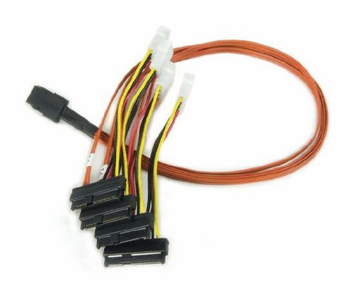 LSI Multi-lane Internal SFF-8087 to 4x SFF-8484 SAS/SATA breakout cable, forward , 0.6m