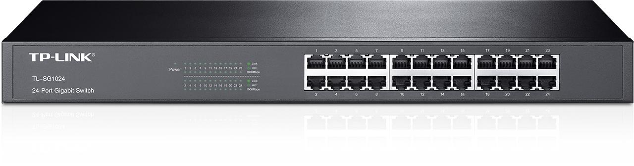 Switch Gigabit 24 cổng, 24 cổng RJ45 10/100/1000Mbps, Vỏ thép gắn tủ 19-inch chữ U