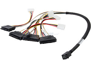 Internal cable SFF8643 to x4 SAS8482 w/power (mini SAS HD to SAS HDD)