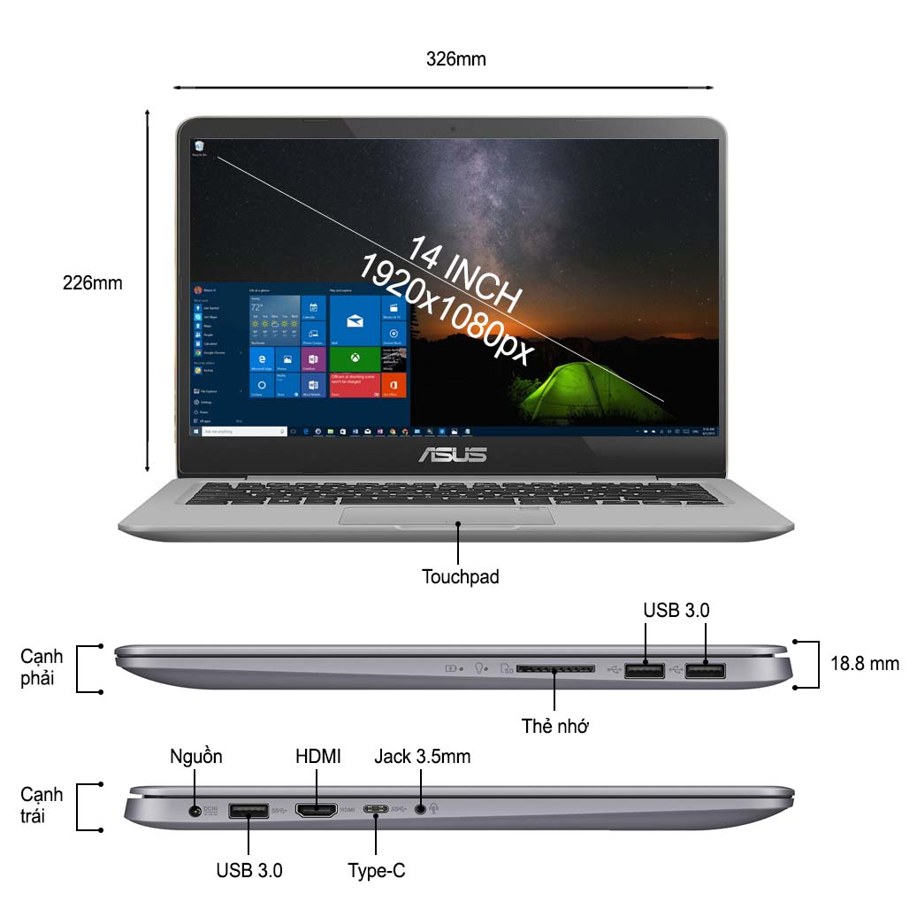 Asus Vivobook S14 S410UA-EB218T : i3-7100U | 4GB RAM | 1TB HDD | UHD Graphics 620 | 14.1