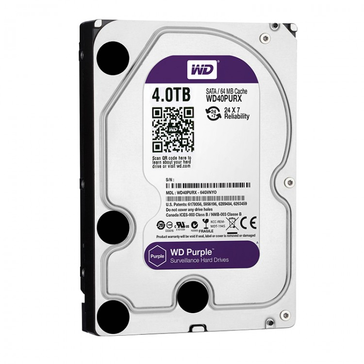 4TB WD Purple Surveillance Hard Disk Drive - 5400 RPM Class SATA 6 Gb/s 64MB Cache 3.5 Inch