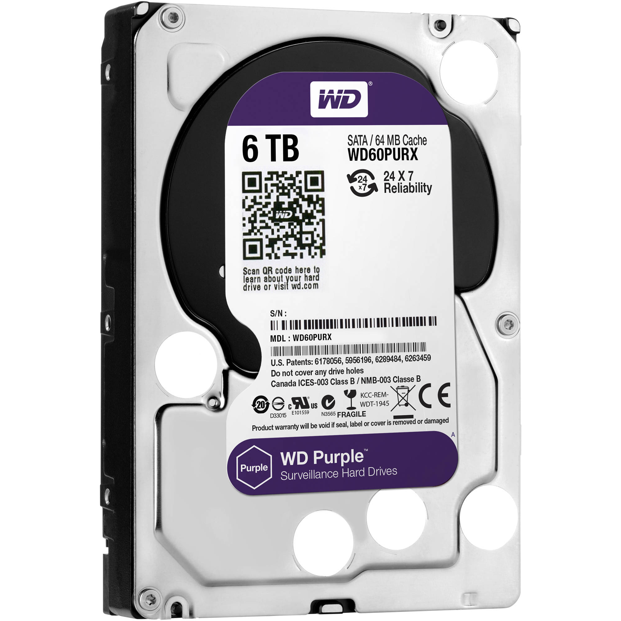 6TB WD Purple Surveillance Hard Disk Drive - 5400 RPM Class SATA 6 Gb/s 64MB Cache 3.5 Inch