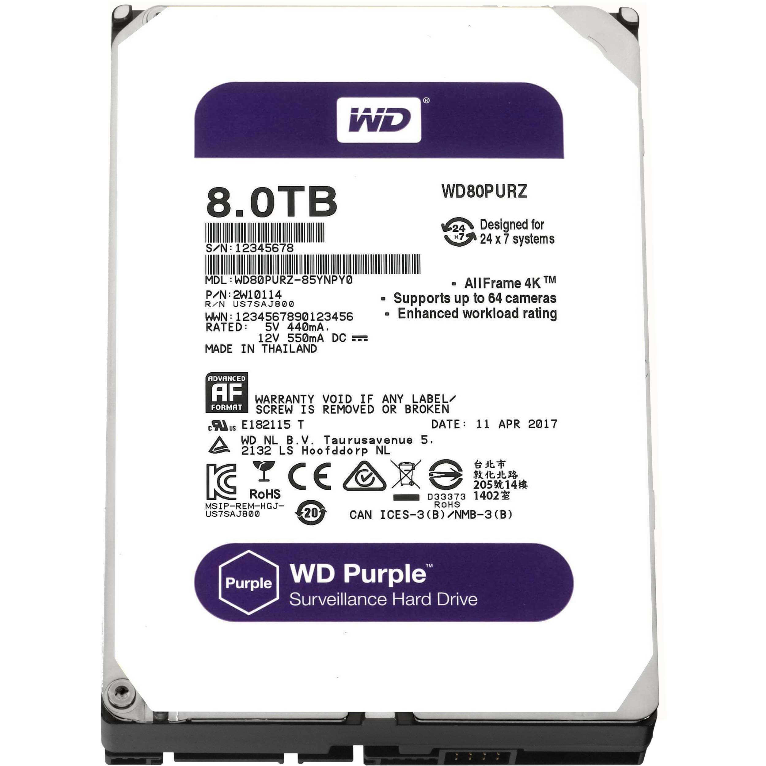 8TB WD Purple Surveillance Hard Disk Drive - 5400 RPM Class SATA 6 Gb/s 128MB Cache 3.5 Inch