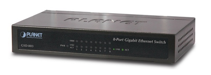 8 Port 10/100/1000Mbps Gigabit Ethernet Switch PLANET GSD-803