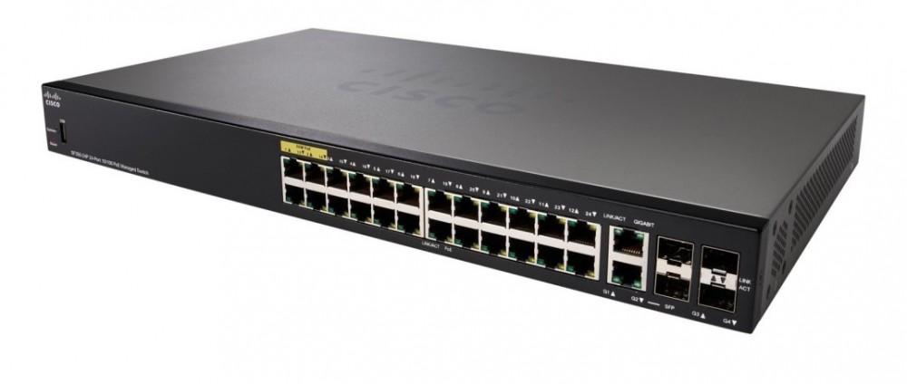 Thiết Bị Mạng Switch Cisco 24 Ports 10/100Mbps SF350-24-K9 24 2 Gigabit/SFP Combo+2 Cổng SFP