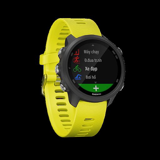 Vòng đeo tay theo dõi sức khỏe Garmin Forerunner 245, Black/Amp Yellow, SEA_010-02120-4A