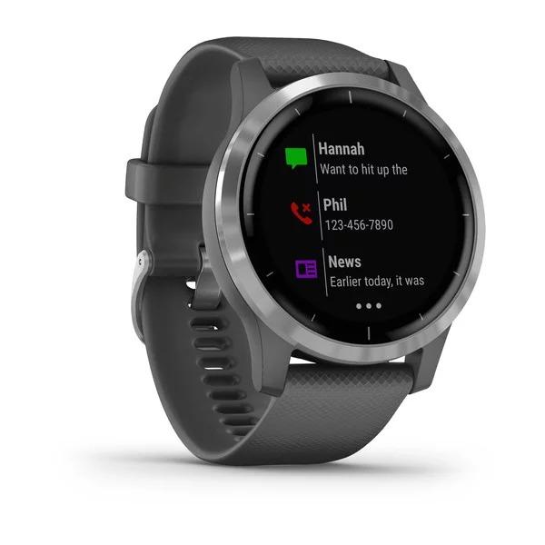 Vòng đeo tay theo dõi sức khỏe Garmin vivoactive 4, GPS, Wi-Fi, Shadow Gray/Silver, SEA_010-02174-09