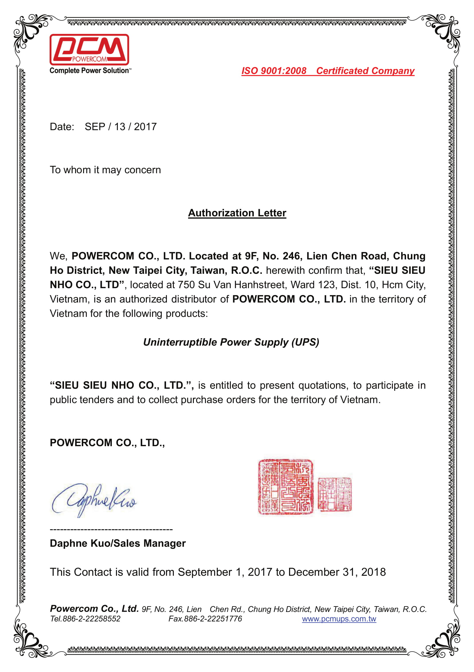 Authorization Letter Powercom 2017